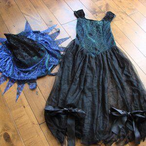 Girls Witch Costume Shimmer Spider Web Dress Hat